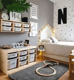 L - kinderzimmer mommo design: 10 IKEA TROFAST HACKS There are some other tricks of the painted furn Ikea Boys Bedroom, Baby Bedroom, Baby Boy Rooms, Ikea Kids Playroom, Childs Bedroom, Playroom Decor, Ikea Baby Room, Bedroom Furniture, Teen Shared Bedroom