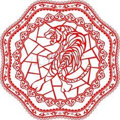 Año chino del tigre hecha por el chino tradicional papel cortado Tiger arte y de dibujo están en capas diferentes Foto de archivo