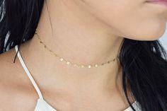 Sequin Golden Chain Choker Necklace bbNV9ZzH