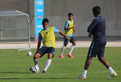 India midfielder Eugeneson Lyngdoh during training for the national team in Laos.