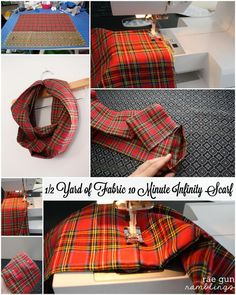 10 Minute Infinity Scarf Tutorial Christmas Tartan Style- 10 Minute Infinity Scarf Tutorial Christmas Tartan Style Step by step instructions for how to make an infinity scarf out of just half a yard of fabric – Rae Gun Ramblings - Fleece Projects, Easy Sewing Projects, Sewing Projects For Beginners, Sewing Tutorials, Sewing Hacks, Sewing Tips, Sewing Crafts, Sewing Scarves, Sewing Clothes