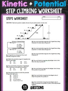 potential and kinetic energy worksheet answers science pinterest kinetic energy and worksheets. Black Bedroom Furniture Sets. Home Design Ideas