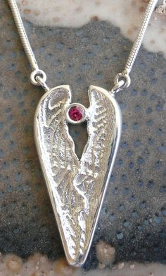 Sterling Silver Heart Necklace  Ruby Abstract by cutterstone, $141.00