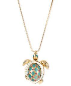 Betsey Johnson Gold-Tone Glass Pearl Crystal Turtle Pendant | macys.com