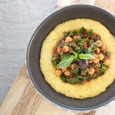 Kale Puttanesca & Creamy Vegan Polenta.