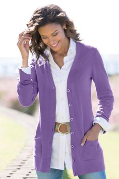 The Long Length Boyfriend Cardigan: Classic Women's Clothing from #ChadwicksofBoston $44.99