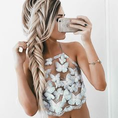 Summer Sexy White Mesh Lace Crochet Bralette Bustier Crop Top Women Casual Hollow Short Camis Tank Tops from Crystalline. Saved to Clothes. Halter Crop Top, Halter Neck, Lace Tank, Lace Bustier, Mode Inspiration, Woman Inspiration, Hair Goals, Braided Hairstyles, Pretty Hairstyles