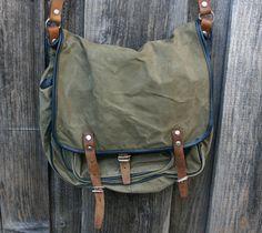 Vintage 1960's Army Officer Canvas Messenger Bag