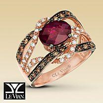 Le Vian® Diamond & Raspberry Rhodolite® Ring