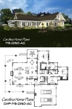 Country style home plan with spacious open floor layout cathedral ceiling great room and 2 master suites. Open Floor House Plans, Porch House Plans, 4 Bedroom House Plans, Basement House Plans, Lake House Plans, Bungalow House Plans, Craftsman Style House Plans, Best House Plans, Modern House Plans