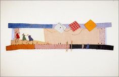 'Three Happy Girls Flying Kites' by Janet Bolton textile art - lovely and naive