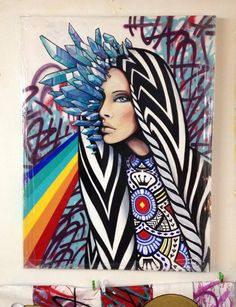 """Spray paint and Acrylics on Canvas _ Installment in Crystallinecluster Series _  """"Inspired by the light that we all have inside, just waiting to emerge and manifest."""""""