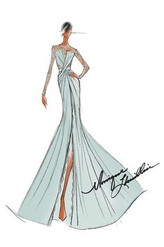 Monique Lhuillier Sketches | What Would Michelle Obama Wear: Inauguration Ball Inspiration