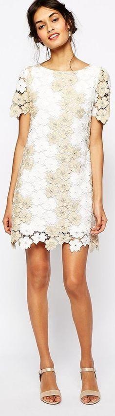 "A gorgeous Soma London Heavy Metallic Crochet Lace Shift Dress that screams, ""Summertime."""