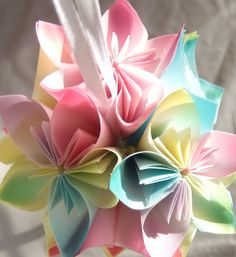 Mini Origami Flower Ornament by Katiemommy on Etsy, $10.00
