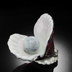 Oyster Shell And Pearl Art Glass