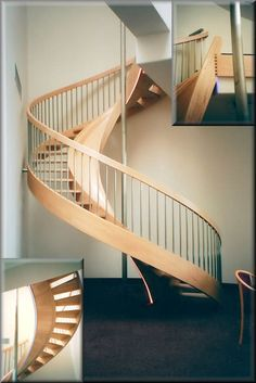 Wooden spiral staircase with slide beside it