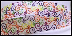 "Elegant Colored Swirls Printed Grosgrain Ribbon 7/8"" wide Scrapbooking HairBows Parties DIY Projects az93"