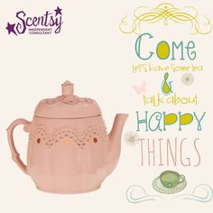 it's teatime! this dusty pink teapot is topped with a delicate rosebud and an embossed scalloped pattern.