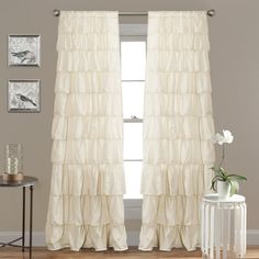 Cream 96 Long Gypsy Shabby Chic Semi Sheer Ruffled Window Curtain