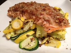 gorgonzola and pecan crusted salmon! From Cecile's Cuisine