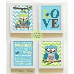You are my sunshine - Nursery Decor - Owl Nursery Art - Love - Baby Boy Room Decor - Print set via Etsy