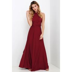 Always Stunning Convertible Burgundy Maxi Dress (€53) ❤ liked on Polyvore featuring dresses, gowns, red gown, wrap maxi dress, red maxi dress, burgundy maxi skirt y long evening dresses
