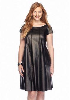 Gabby Skye Plus Size Pleather Trapeze Dress
