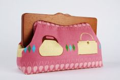 Home pouch - Handbags in sunset - wooden frame clutch bag on Etsy, $68.60