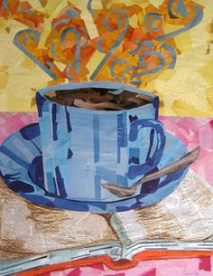 """Intellectual Coffee Cup - Medium: Collage on paper Size: 24""""x18"""" by the great Megan Coyle"""