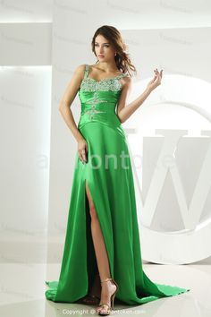Beading Holiday Brush/ Sweep Train Apple Green Special Occasion DressWholesale Price: US$149.99