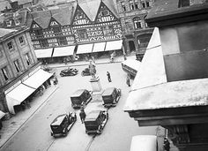 The Square, Shrewsbury, Shropshire. The imposing looking vehicles were taxi's