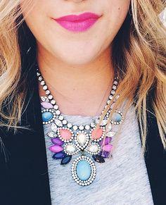 blazer, tee, LH statement necklace, bold lip