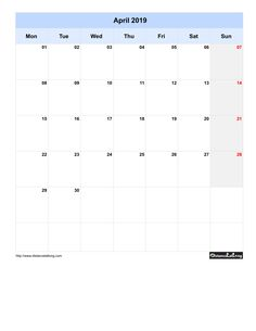Free Monthly Printable Blank Calendar for April 2019 Monday to Sunday Portrait Orientation
