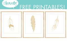 Oh So Lovely: 3 gorgeous DIY decor ideas using feathers and 3 FREE gold feather printables Feather Mobile, Feather Garland, Feather Print, Free Prints, Diy Wall Art, Printable Wall Art, Fun Projects, Easy Crafts, Free Printables
