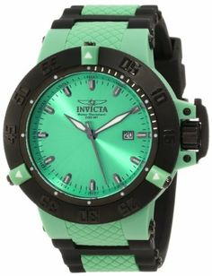 Invicta Men's 10123 Subaqua Noma III Bright Green Dial Watch Invicta. $109.00. Date function. Flame-fusion crystal; green plastic case; green silicone strap. Swiss quartz movement. Water-resistant to 200 M (660 feet). Bright green dial with black and white hands and hour markers; luminous; unidirectional black plastic bezel with green plastic riders; screw-down black ion-plated stainless steel crown with protective clasp