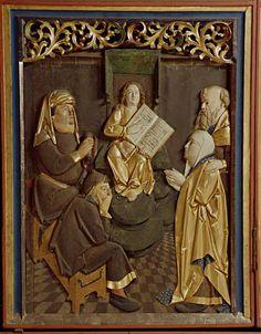Abb. 56: Der zwölfjährige Jesus im Tempel, Relief der ersten Wandlung des Retabels, Marienkirche in Borna
