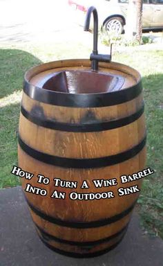 Summer, check out the wine barrel sink! Now if we can only get a wine barrel, then Rod can make this for us!