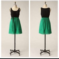 Maeve Anthropologie Green And Black Dress