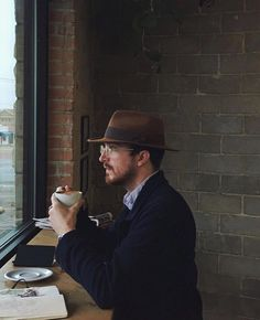 """manmakecoffee: """"Looking out the window waiting for the holiday to appear like """" I Love Coffee, Coffee Art, Coffee Shop, Good Week, Looking Out The Window, Trending Topics, Men Looks, Hats For Men, Hipster"""