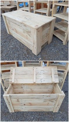 Give a look at this simple and creative designed piece of the wood pallet storage box. It is rectangular in shape designing with the mediu… Pallet Furniture, Furniture Projects, Home Projects, Wooden Pallet Projects, Wooden Pallets, Pallet Ideas, Pallet Wood, Wood Wood, Pallet Storage