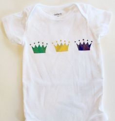 This baby onesie is a great gift for a Louisiana baby getting ready for Mardi Gras! Perfect for parents from Louisiana or who hold New Orleans close