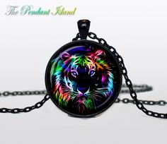 Tiger Necklace, Tiger Pendant tiger jewelry  Pendant Art gift for men for women black multicolor. $13.50, via Etsy.