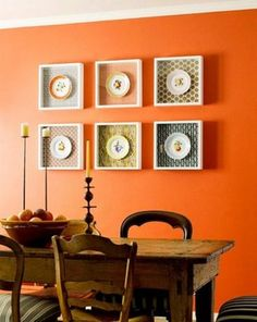 Orange you glad we posted this decor? Brilliant dining room scheme.
