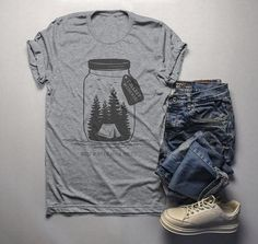 Men s Camping T Shirt Mason Jar Graphic Tee Collect Moments Hipster Shirts  Tent TShirt Camper   73c081b3fe1b
