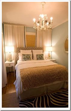 Yellow, blue and brown bedroom