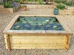 Large square timber raised garden pond kit with pond liner included. This pond can be placed on any surface and doesnt require any digging first. Water Garden, Garden Ponds, Garden Art, Garden Design, Raised Pond, Pond Kits, Pond Liner, Pond Waterfall, Moving Water