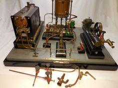 VINTAGE STUART LIVE STEAM ENGINE PLANT TOY , OLD ELECTRIC MOTOR , DISTILLERY ?