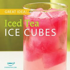 Iced Cubes made from Steeped Tea- my sponsor suggested this and I'm excited to give it a try. It keeps the tea from getting watered down. Fun Drinks, Yummy Drinks, Beverages, Smoothie, Iced Tea Recipes, Tea Tins, Tea Art, Loose Leaf Tea, My Tea