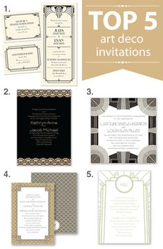 Top 5 art deco invitations